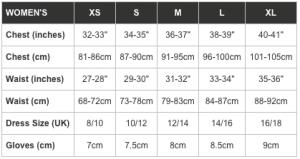 Women's kit sizes